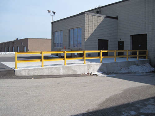 Bolted Railing System Mounted On Concrete Ramp Eagle Steel